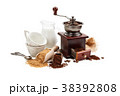Coffee beans and ground coffee. 38392808