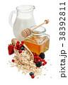 Oats, fruits and honey. 38392811