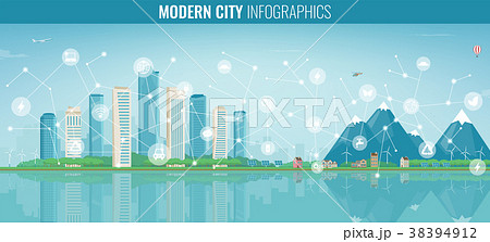 Urban landscape with infographic elements. Modern 38394912
