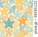 Shell Urchin and Starfish Hand Drawn Pattern 38395122