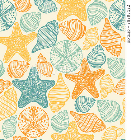 Shell Urchin and Starfish Hand Drawn Pattern 38395122
