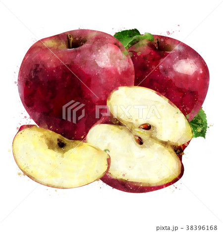 Red Apple on white background. Watercolor 38396168