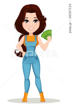 Farmer girl dressed in work jumpsuit. 38397520