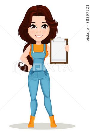 Farmer girl dressed in work jumpsuit. 38397521