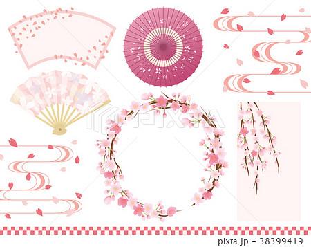 桜の和風フレーム素材セット 38399419