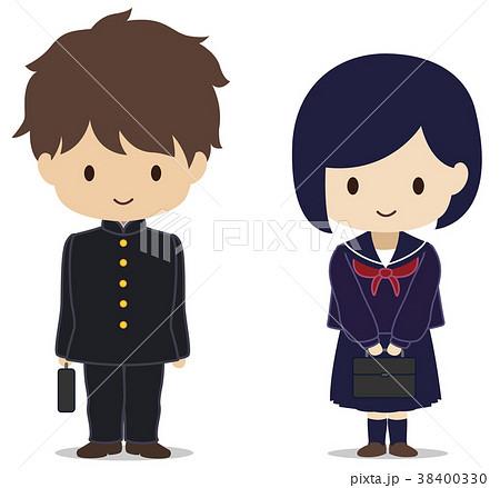 可愛い学生 セーラー服 気を付け 冬服のイラスト素材 38400330 Pixta