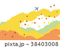 素材-空と飛行機(秋2) 38403008