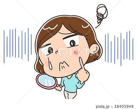 ニキビに悩む女性のイラスト 38405948