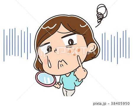 そばかすに悩む女性のイラスト 38405950