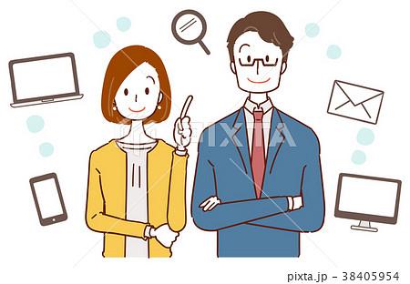 ビジネスウーマンとサラリーマンのイラスト、インターネットについての提案 38405954