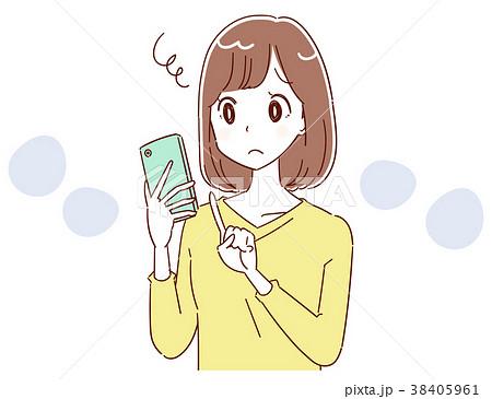スマートフォンが上手に扱えない女性のイラスト 38405961