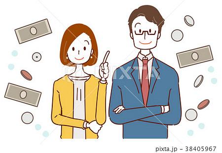 ビジネスウーマンとサラリーマンのイラスト、お金についての提案 38405967