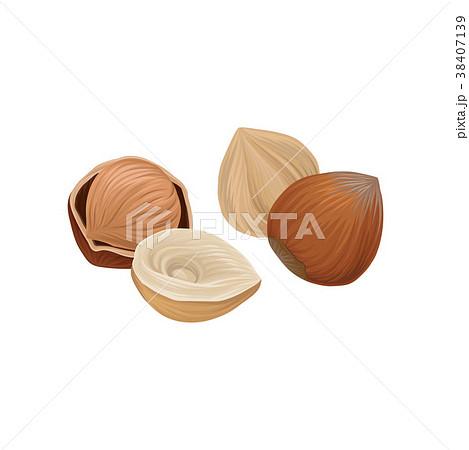 Fresh raw whole and half of hazelnut. Organic 38407139
