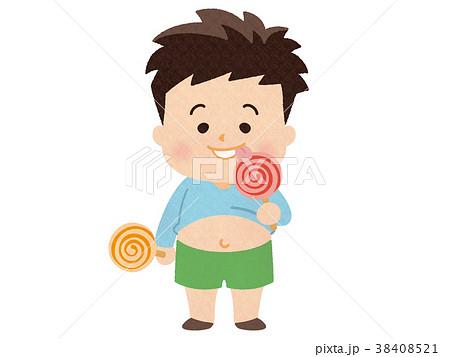 キャンディをなめる太っちょな男の子 38408521
