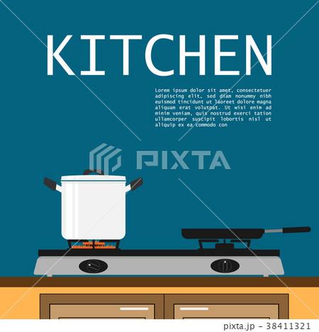 kitchen skillet pot on fire stove flat vector 38411321