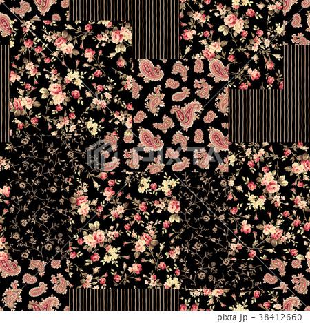花とペイズリーのパッチワーク 38412660