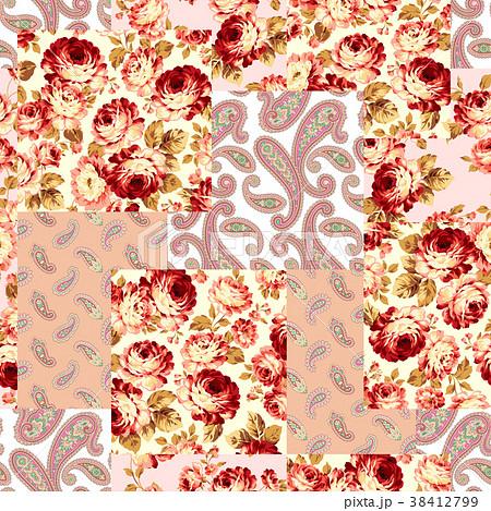 バラとペイズリーのパッチワーク 38412799