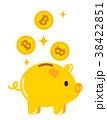 ビットコインと金のブタ貯金箱 38422851