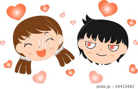 ラブラブなカップルの顔のイラスト素材 38423882 Pixta