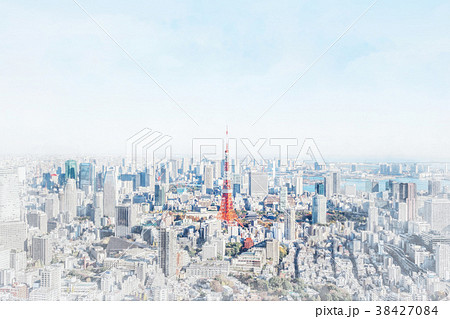 tokyo city skyline with watercolor, sketch effect 38427084
