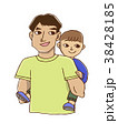 子供をおんぶするパパ 38428185