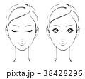 正面を向いた女性 セット、モノクロ線画 38428296