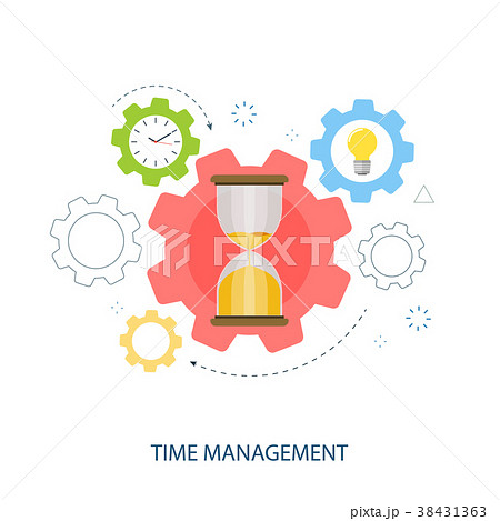 time management gear hourglass flat vector のイラスト素材 38431363