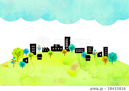 水彩テクスチャー 街並 風景素材 38433816