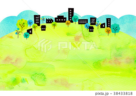 水彩テクスチャー 街並 風景素材 38433818