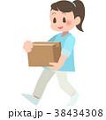 女性 ダンボール 運ぶのイラスト 38434308