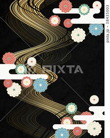 和モダン 菊の花 流線(和紙テクスチャー)  38435003