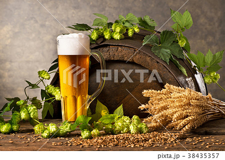 Still Life with Beer Glass, Hop Cones and Wheat 38435357