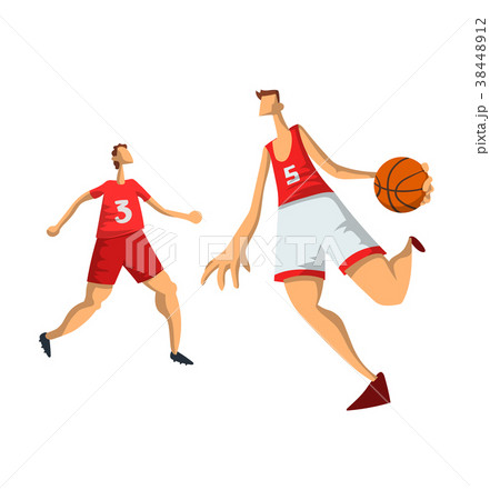 Basketball players in abstract flat style. Men 38448912