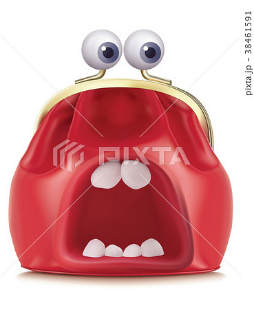 Purse with mouth and eyes. Vector 3d illustration 38461591