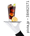 Hand with glove holds tray with cola soda drink 38462571