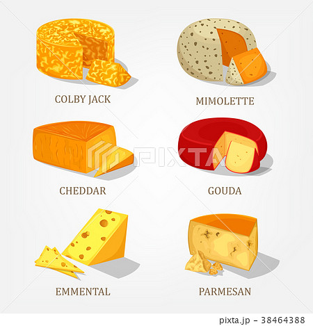 sliced french and swiss cheese food iconsのイラスト素材 38464388