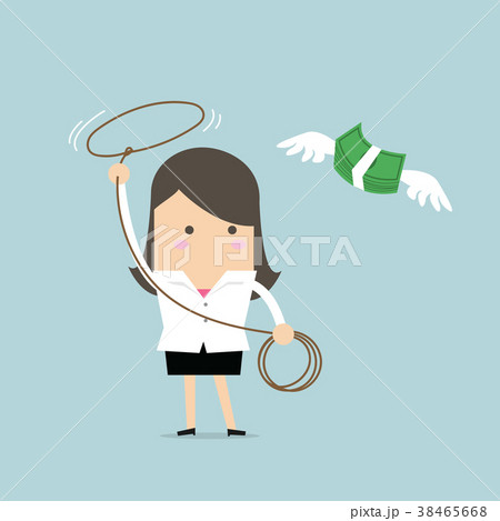 Businesswoman chasing flying money by rope. 38465668