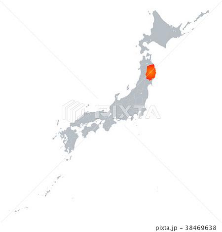 岩手県地図 日本列島 38469638