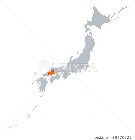 広島県地図 日本列島 38470225