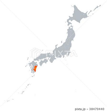 宮崎県地図 日本列島 38470440