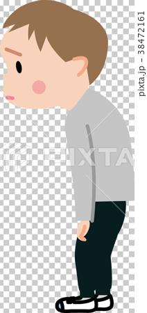 姿勢が悪い子供 イラスト 38472161