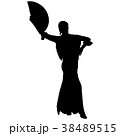 One black silhouette of female flamenco dancer 38489515