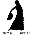 One black silhouette of female flamenco dancer 38489517