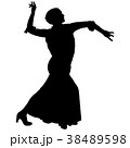 One black silhouette of female flamenco dancer 38489598