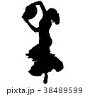 One black silhouette of female flamenco dancer 38489599