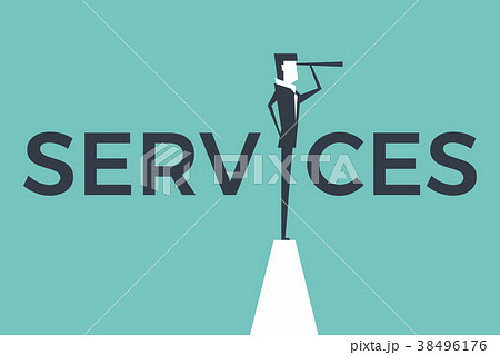 service concept business man with telescope のイラスト素材