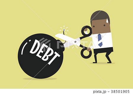 Businessman's hand holding scissors to cut debt. 38501905