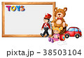 Board template with cute toys 38503104