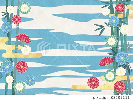 和紙の風合いを感じるイラスト(竹、金、空) 38505111