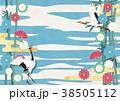 和紙の風合いを感じるイラスト(竹、金、空、鶴) 38505112